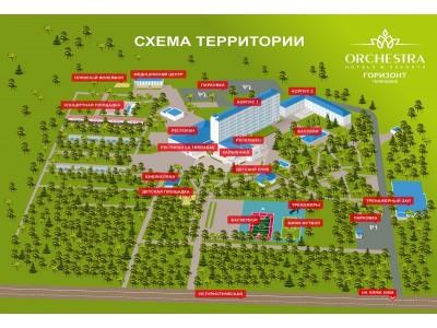 Отель «Orchestra Horizont Gelendzhik Resort» / «Оркестра Горизонт Геленджик Резорт» (быв. ЛОК Горизонт), схема территории